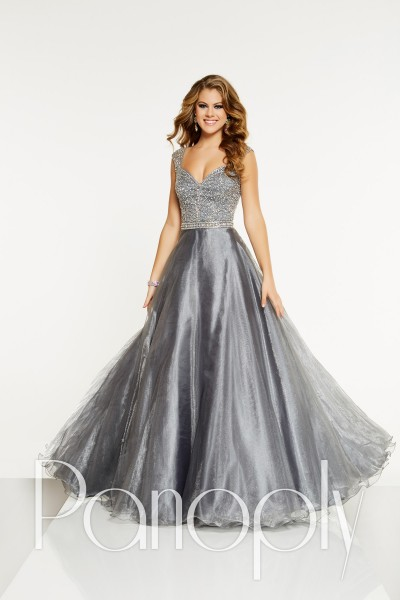 Panoply 14899 is available in Aqua, Platinum and in sizes 0-30.