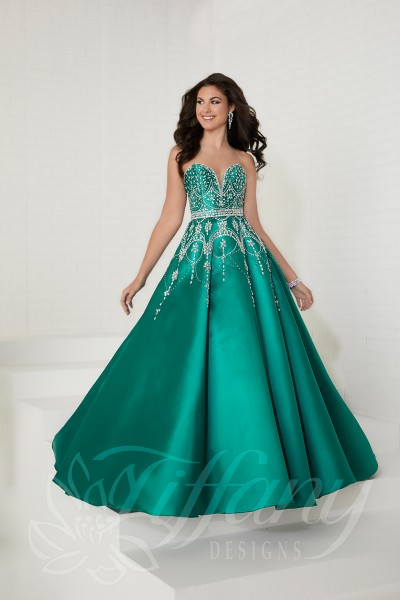 Tiffany 16266 is available in Fuchsia, Jade, Navy and in sizes 0-30.