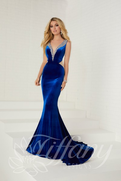 Tiffany 16268 is available in Black, Plum, Royal and in sizes 0-30.