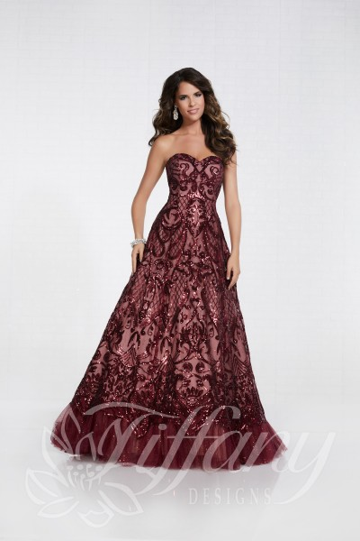 Tiffany 16299 is available in Black, Rose Gold, Wine and in sizes 0-30.