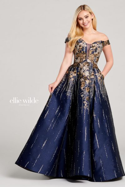 Ellie Wilde EW22052 Off the Shoulder Prom Dresses