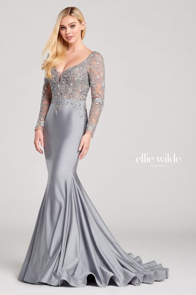 Ellie Wilde EW22028 Long Sleeve Prom Dresses