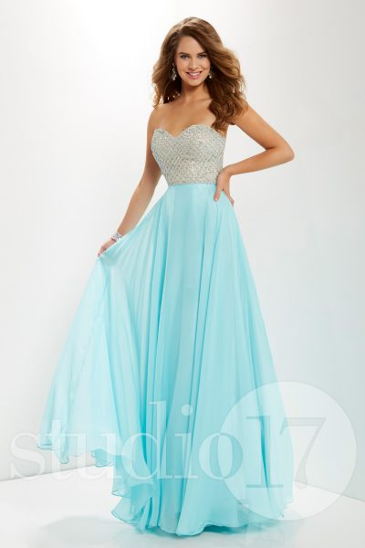 Studio 17 12670 is available in Aqua, Champagne and in sizes 0-30.