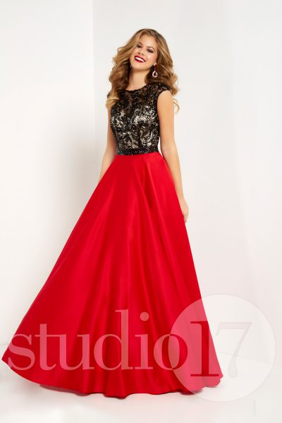 Studio 17 12699 is available in Red Black, Seafoam Black and in sizes 0-30.